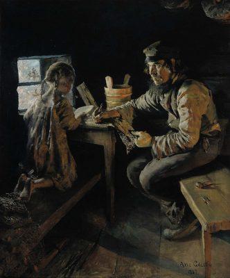 Akseli Gallen-Kallela: Ensi opetus (1887-1889). Kansallisgalleria/Ateneumin taidemuseo, Herman ja Elisabeth Hallonbladin taidekokoelma. Kuva: Kansallisgalleria.