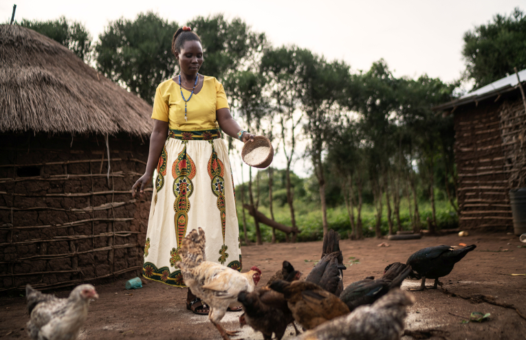 Nainen ruokkii kanoja pihallaan.