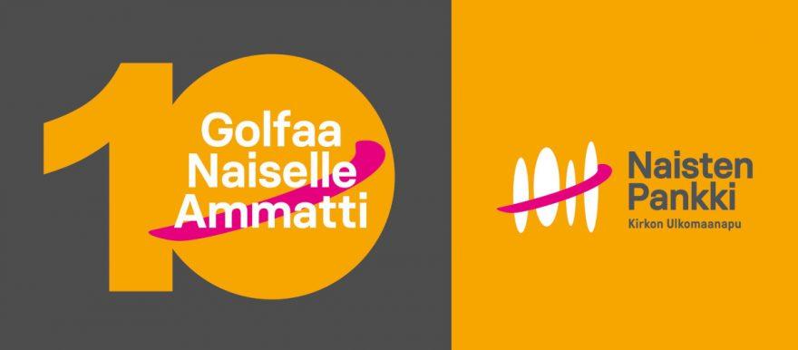 Oranssi numero kymmenen harmaalla pohjalla Golfaa Nasielle Ammatti-logon kanssa.