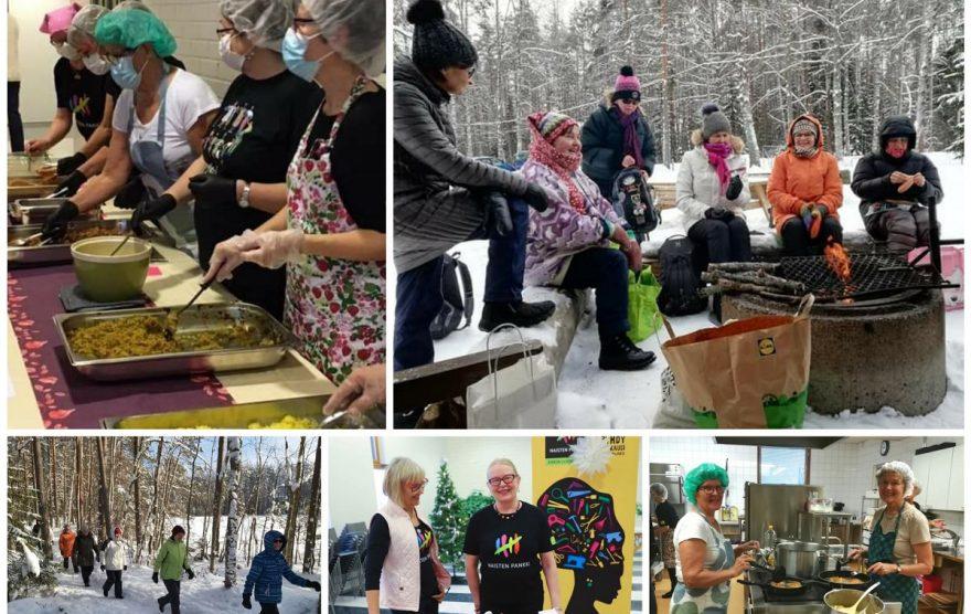 Kuvakollaasi viidestä kuvasta., joissa naiset esittelevät erimuotoisia vapaaehtoistehtäviä sukkamyyjäisistä ruoanjakeluun.