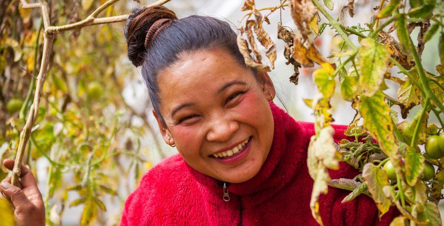 Hymyilevä nainen kurkistaa oksien takaa.
