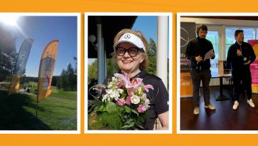 kolme kuvaa joissa yhdessä naisten pankin lippu golfkentällä, toisella hymyilevä nainen kukkakimpun kanssa, kolmannessa kuvassa kaksi miestä palkinnot kädessä.